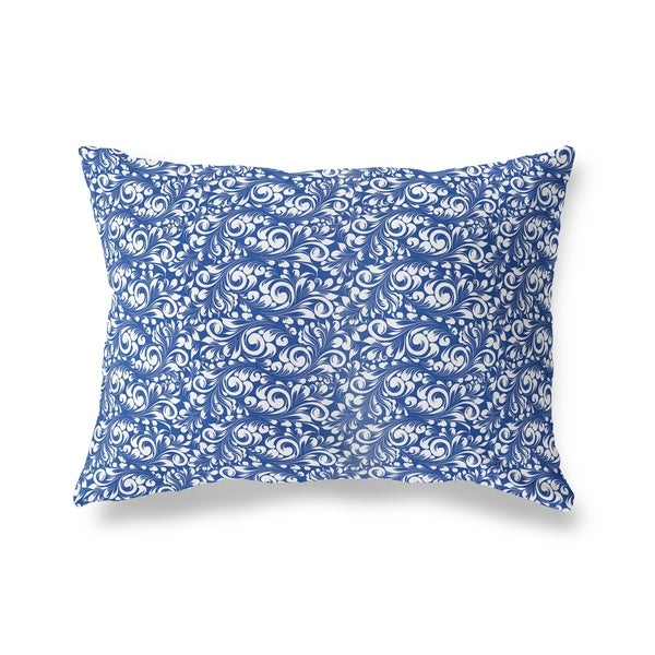 PLUMERIA BLUE Lumbar Pillow By Kavka Designs
