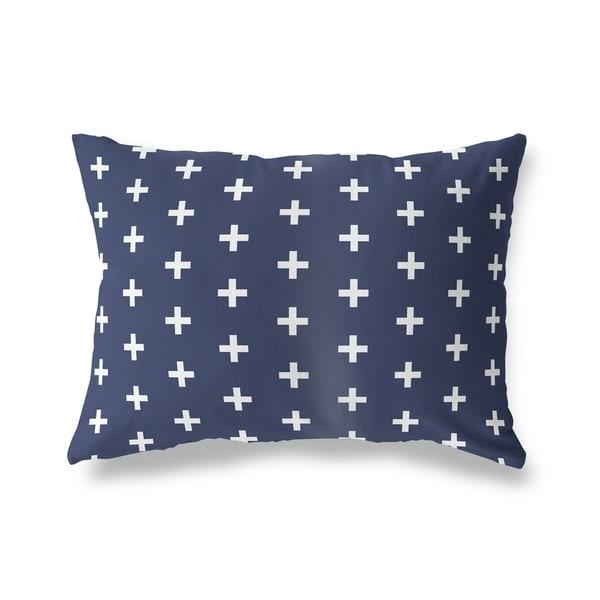 CRISS CROSS NAVY Lumbar Pillow By Kavka Designs