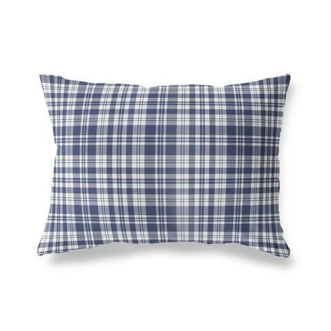 PLAYFUL PLAID NAVY Lumbar Pillow By Kava Designs