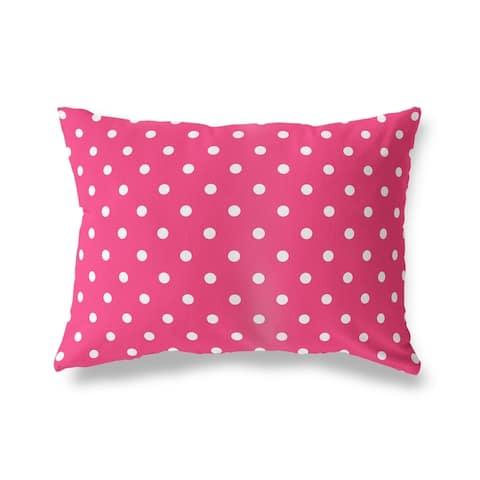POLKA DOTS PINK Lumbar Pillow By Kava Designs