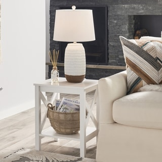 The Gray Barn Xanadu Hill X-frame Two-tier End Table with Shelf
