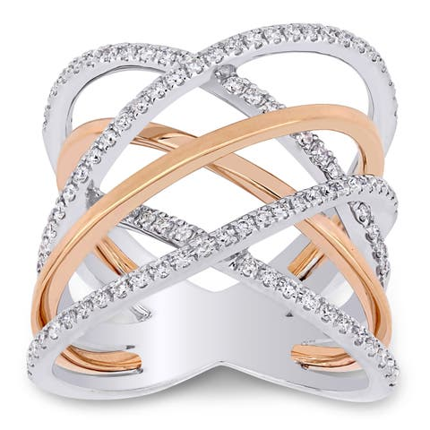 Miadora 2-Tone 14k White and Rose Gold 5/8ct TDW Diamond Criss-Cross Ring