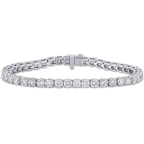 Miadora 14k White Gold 10 1/4ct TDW Diamond Tennis Bracelet