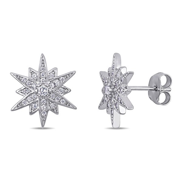 Miadora Sterling Silver Cubic Zirconia Clustered Star Stud Earrings. Opens flyout.
