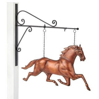 Good Directions Pure Copper Hand-finished Horse Hanging Wall Sculpture with Bronze Patina