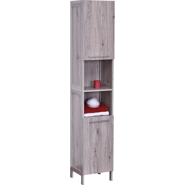 "Shop Bath Floor Cabinet Linen Tower 2 Doors- 2 Shelves Oslo Gray Oak - 12 5/8""L x 12""W x 67 7/8 ..."