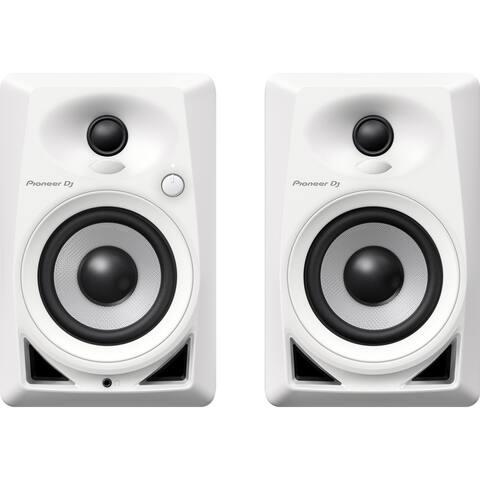 """Pioneer DM-40-W 4"""" Compact Active Desktop Monitor Speakers, Pair - White"""