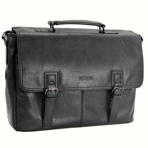 Kenneth Cole Reaction Modern Dilemma Pebbled Faux Leather Flapover 15in Laptop Business Portfolio