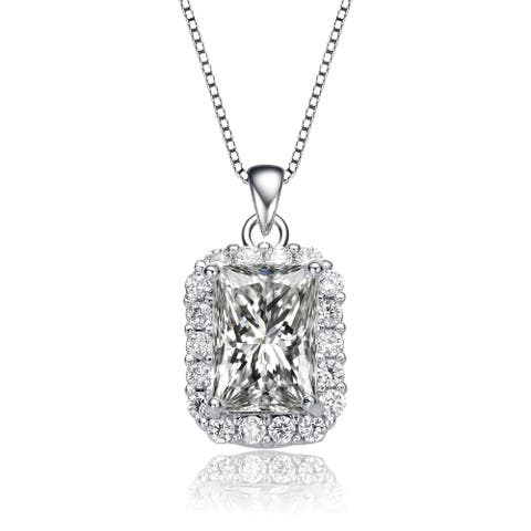 Collette Z Rhodium Plated Radiant Cubic Zirconia Square Pendant Necklace