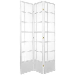 7 ft. Tall Double Cross Shoji Screen - White - 3 Panels