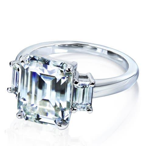 Annello by Kobelli 14k White Gold 5 1/2 Carat TW 3-Stone Emerald Moissanite Forever One (C&C) Engagement Ring