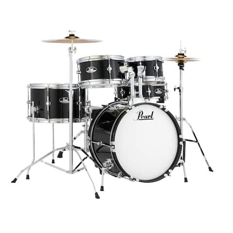 "Pearl Roadshow Junior 5-Piece Drumset w/ 16"" Bass Drum, Hardware & Cymbals - Jet Black"