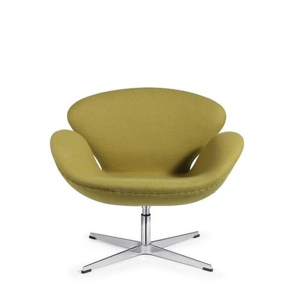 Modern Swivel Swan Lounge Chair Green wool