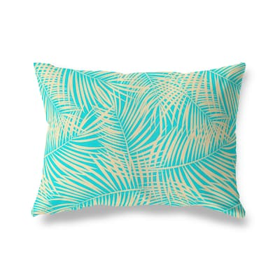 PALM PLAY TEAL Lumbar Pillow By Kava Designs