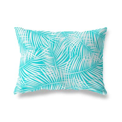 PALM PLAY TEAL WHITE Lumbar Pillow By Kava Designs