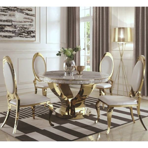 Shop Luxurious Modern Design Stainless Steel Dining Set: Shop Luxurious Modern Design 5-piece Gold Dining Set With