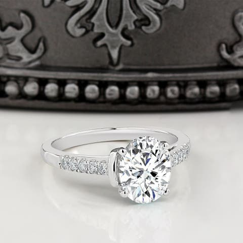 Moissanite by Auriya 14k Gold 2ct Oval-cut and 1/6ctw Diamond Engagement Ring