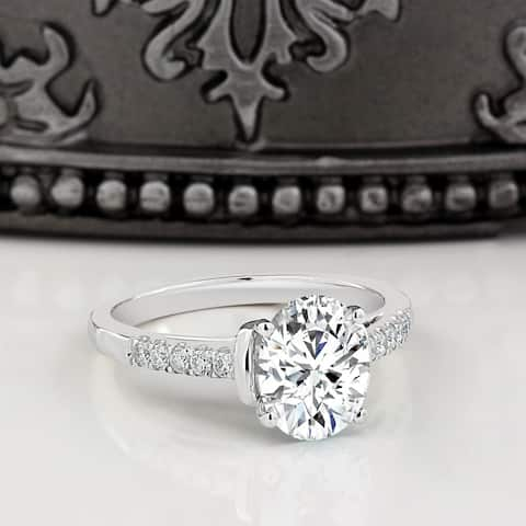 Moissanite by Auriya 14k White Gold 2ct Oval-cut and 1/6ctw Diamond Engagement Ring