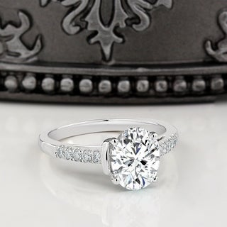 Moissanite By Auriya 14k White Gold 2ct Oval Cut And 1 6ctw Diamond Engagement Ring
