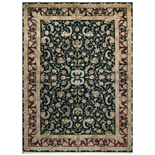 Handmade One-of-a-Kind Kashan Wool and Silk Rug (India) - 10' x 14'