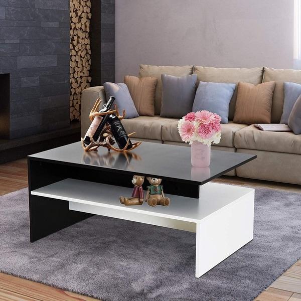 2 Tier Modern Rectangular Living Room Coffee Table - Black/White
