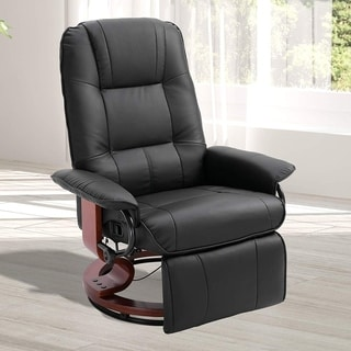 HomCom Faux Leather Adjustable Manual Traditional Swivel Base Recliner Chair with Footrest