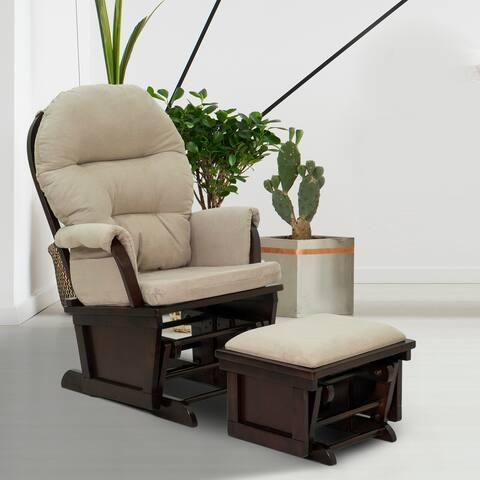 HomCom Nursery Glider Slider Rocking Chair with Ottoman Set
