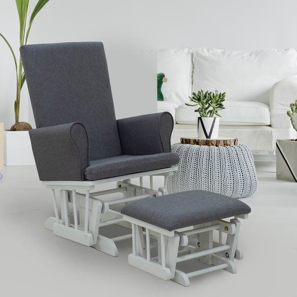 Remarkable Shop Homcom Rubberwood Linen Glider Rocking Chair With Inzonedesignstudio Interior Chair Design Inzonedesignstudiocom