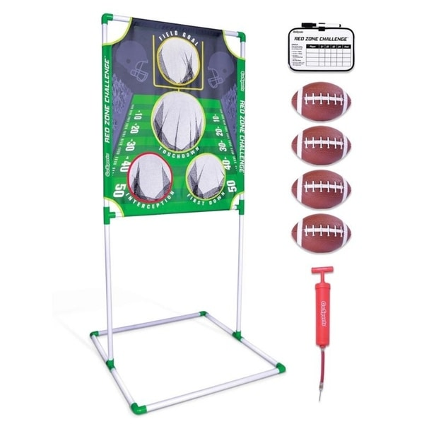 "GoSports Red Zone Challenge Football Toss Game | Includes Target, 4 Footballs, Scoreboard and Case - Green - 5' 7"" x 2' 7"". Opens flyout."