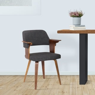 Nancy Contemporary Dining Chair in Walnut with Charcoal Fabric