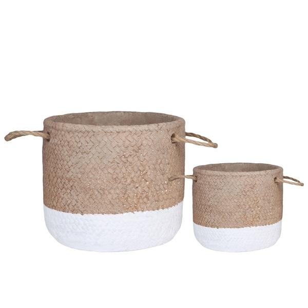 UTC59810: Cement Round Basket Washed Finish Apricot