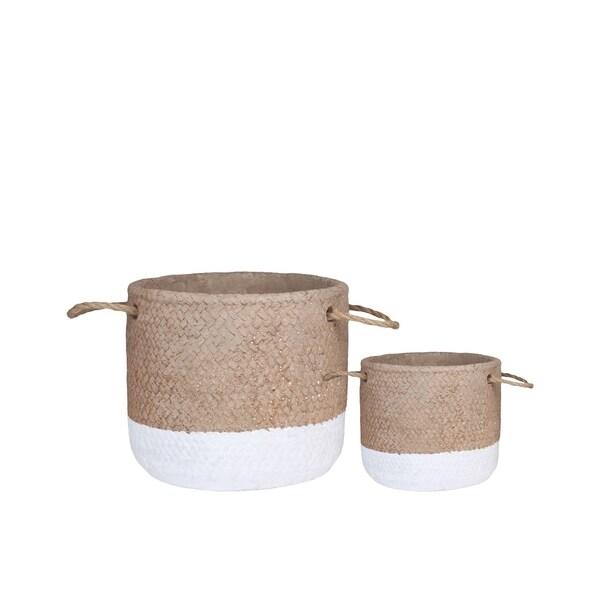 UTC59813: Cement Round Basket Washed Finish Apricot
