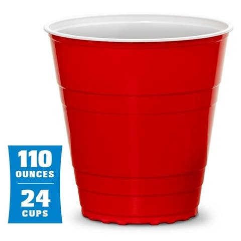 """GoBig 110oz Giant Red Party Cups 24 PACK with 4 XL 3"""" Pong Balls"""