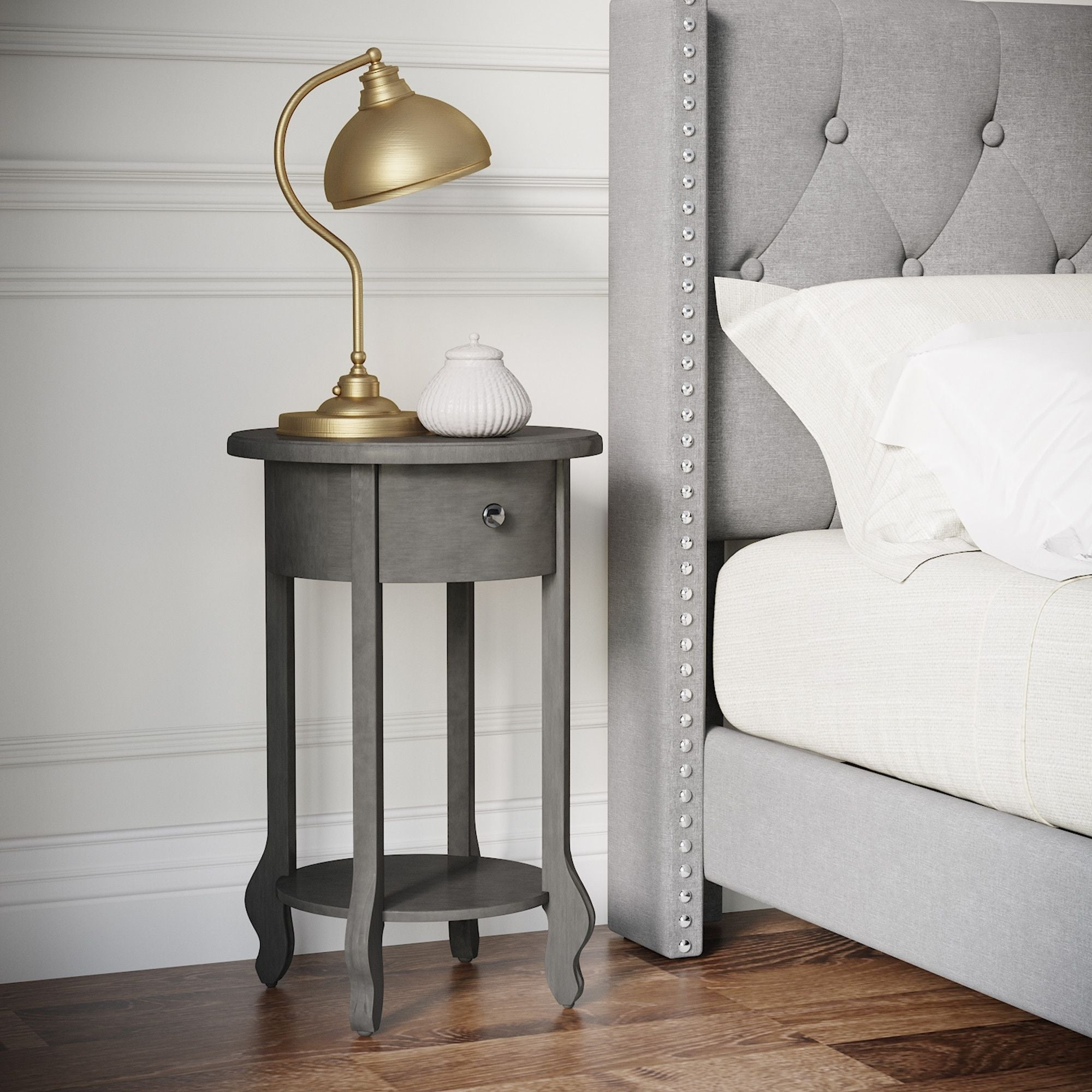 Picture of: Finch James Round Side Table Dark Gray Overstock 28259168