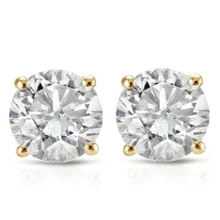 Link to 14k Yellow Gold 1ct TDW Diamond Screw Back Studs Similar Items in Earrings