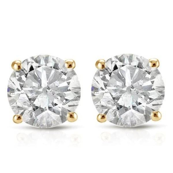 14k Yellow Gold 1ct TDW Diamond Screw Back Studs. Opens flyout.