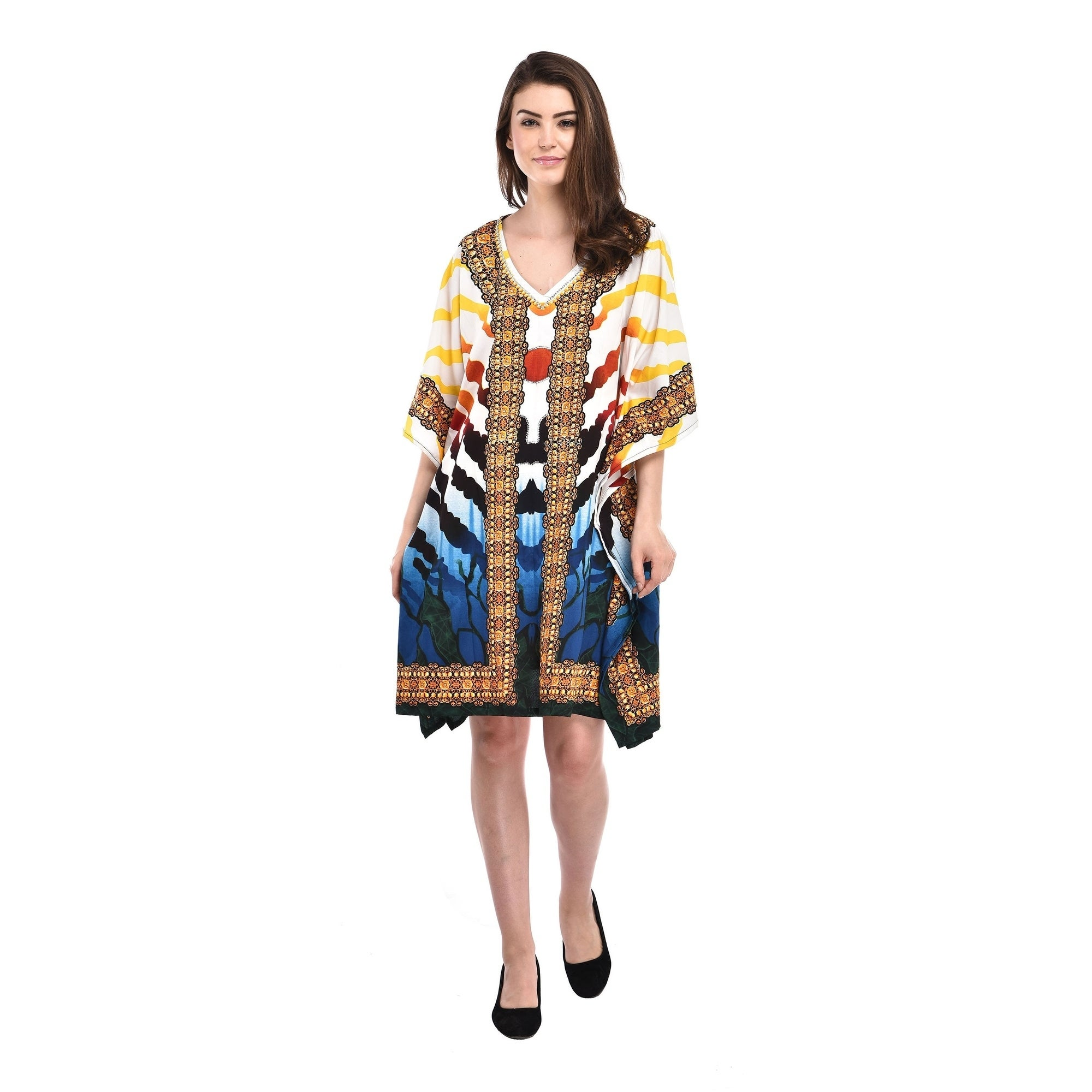 Women kaftan kimono Polyester beach dress Strip Printed Plus Size Tunic  Dress for Women\'s