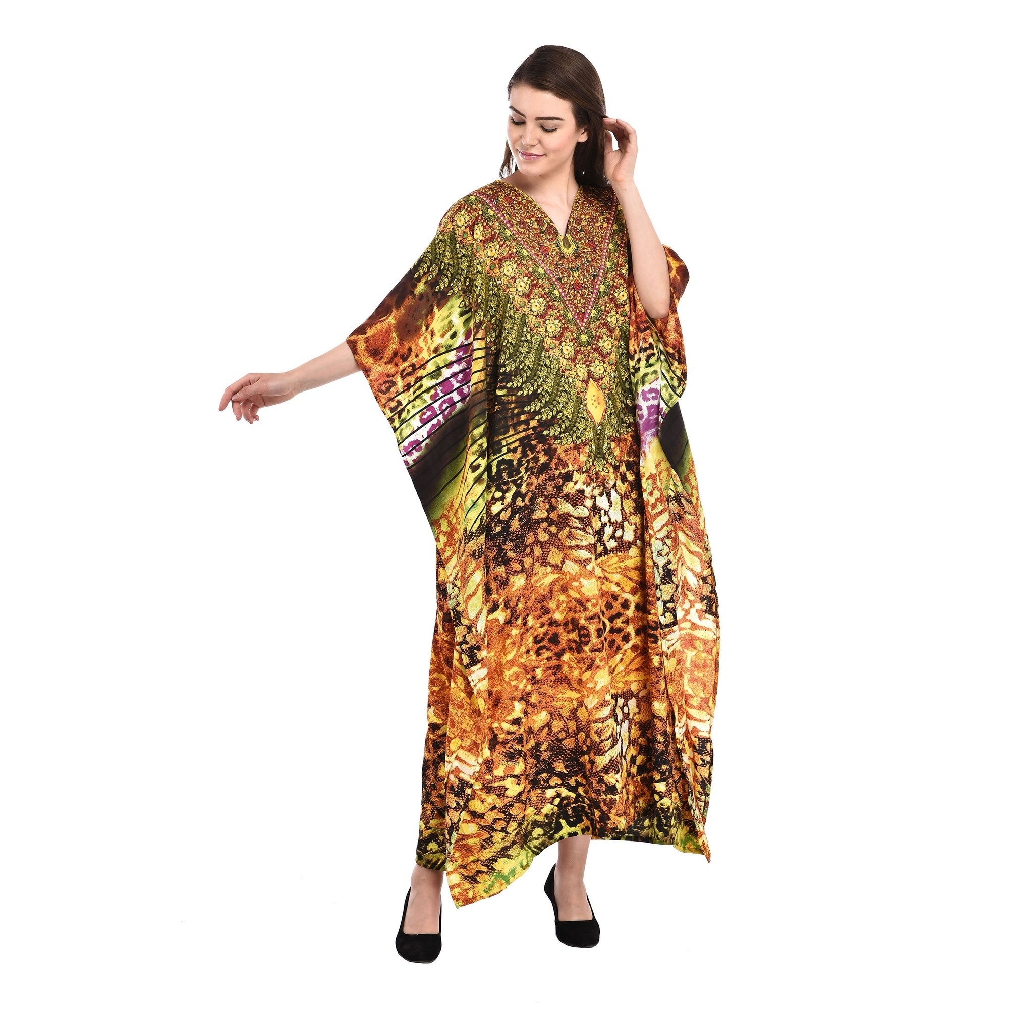 Polyester Short Caftans for Women Abstract Printed Plus Size Tunic Dress  for Women\'s