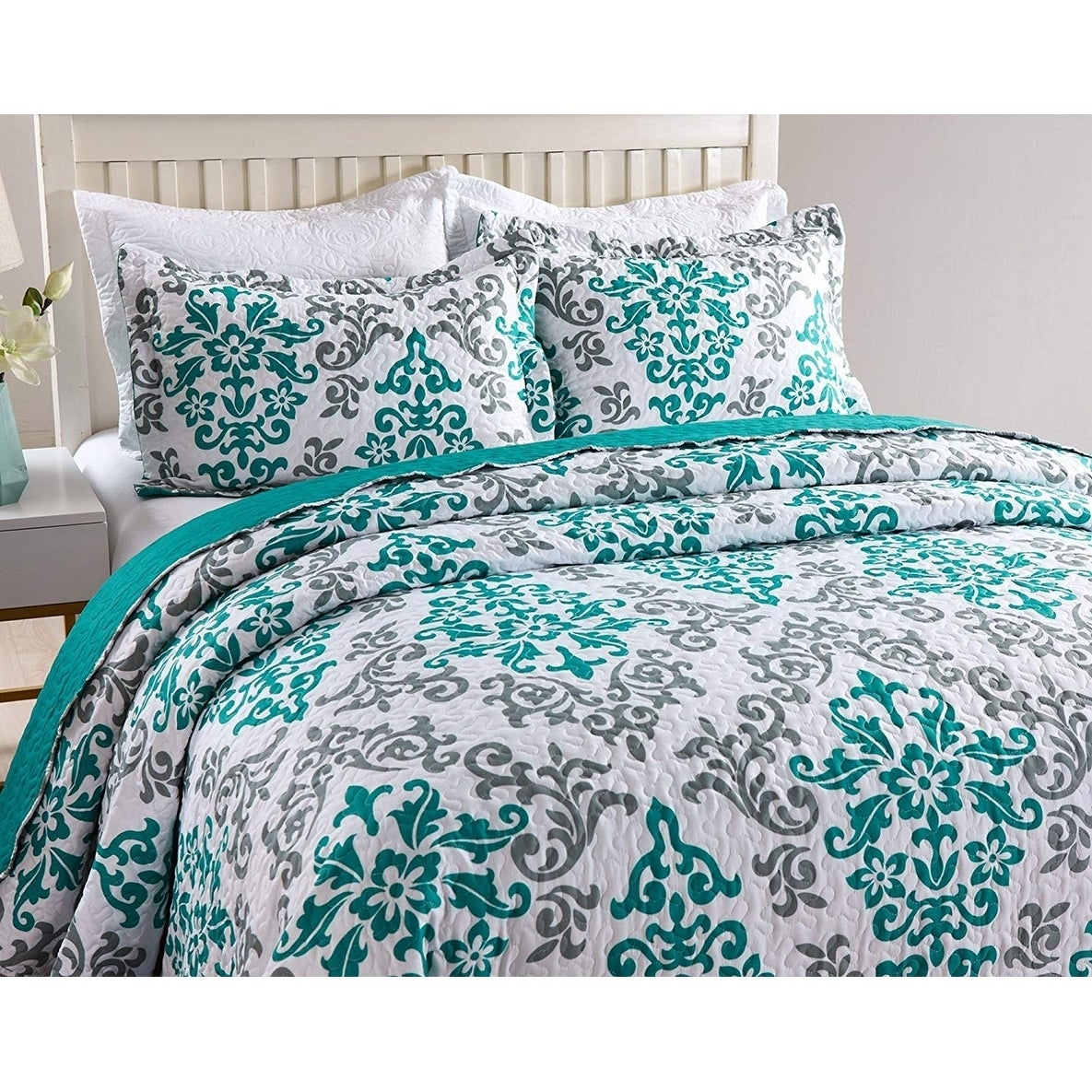 Soft Lightweight Printed Pattern Comforter Bedspread Coverlet Quilt Set King