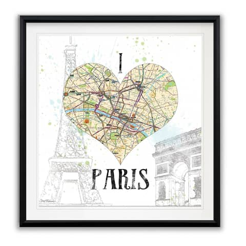 I Love Paris Map -Framed Giclee Print