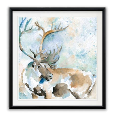 Caribou On Blue -Framed Giclee Print