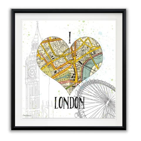 I Love London Map -Framed Giclee Print
