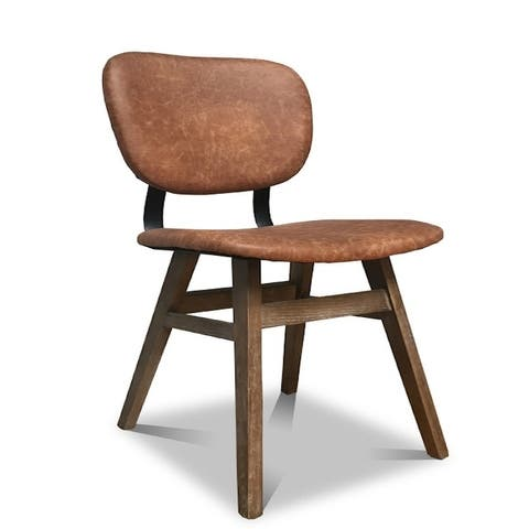 Meo Solid Wood Brown Leather Dining Chair
