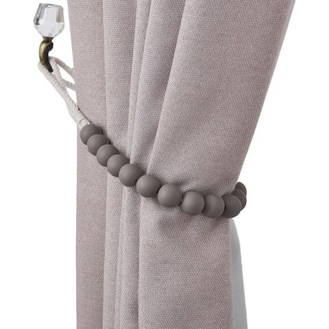 Dametta Macaron Wooden Bead Curtain Tieback (Set of 2)