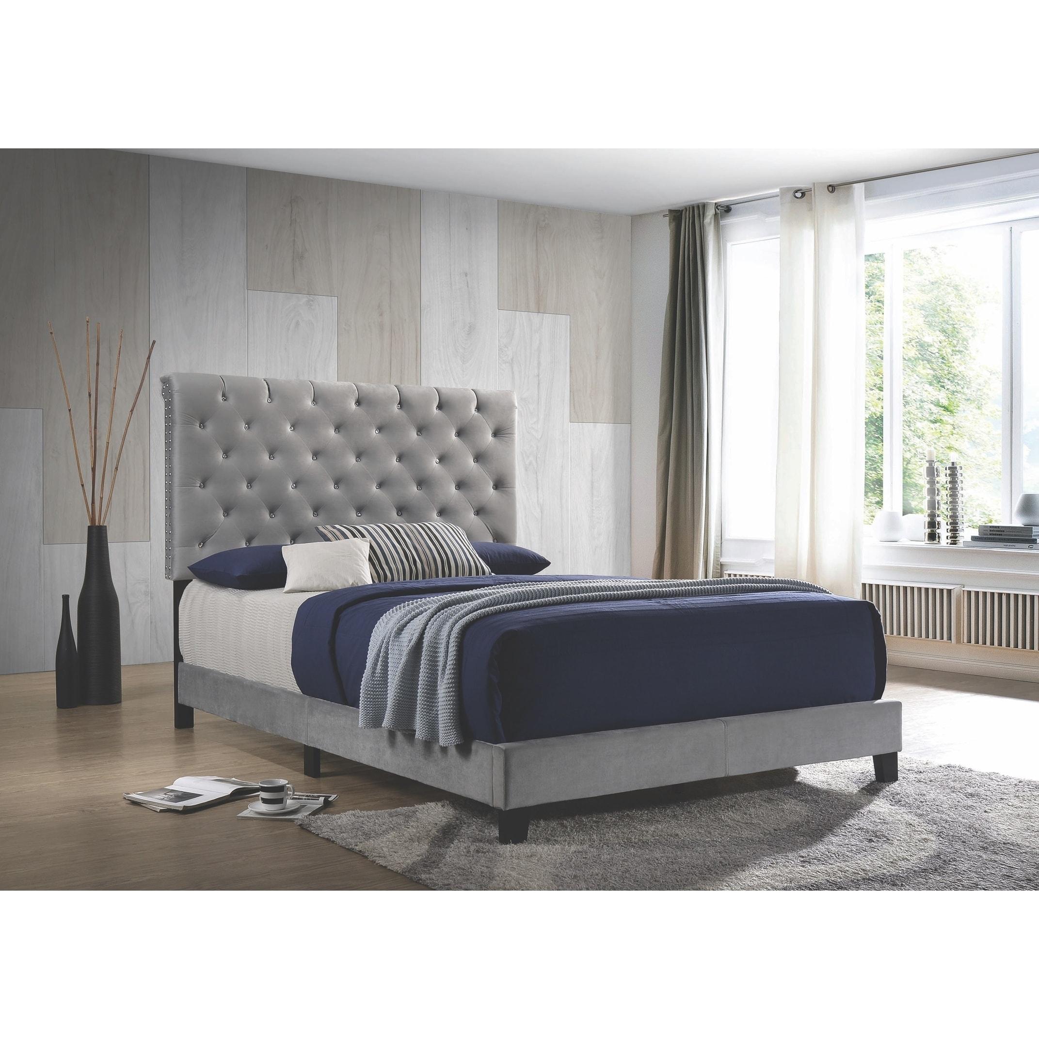 Modern Elegant Button Tufted Design Grey Velvet Upholstered Bed Overstock 28261939