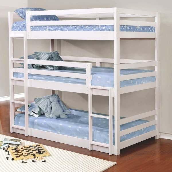 Margarita Versatile White Twin Size Triple Bunk Bed