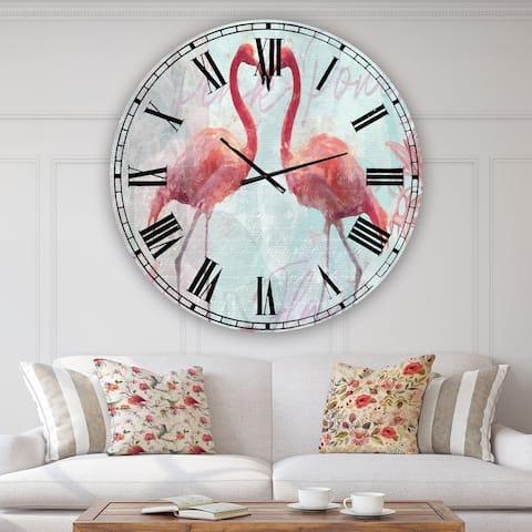 Designart 'Flamingo Power' Oversized Cottage Wall Clock