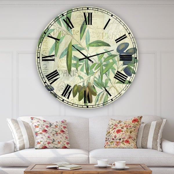 Designart 'Olives Picholines' Oversized Cottage Wall Clock
