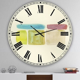 Designart 'Cubist Color Composition II' Oversized Mid-Century Wall Clock