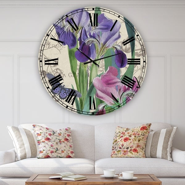 Designart 'Vintage Flowers III' Oversized Cottage Wall Clock